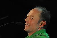 SCHAATSEN: HOOGEVEEN: hoofdkantoor TVM verzekeringen, 02-11-2012, Perspresentatie TVM schaatsploeg, Gerard Kemkers (hoofdtrainer/coach), ©foto Martin de Jong