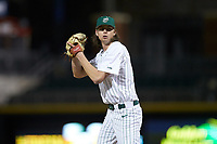 Charlotte 49ers relief pitcher Colby Bruce (21) looks to his catcher for the sign against the Clemson Tigers at BB&T BallPark on March 26, 2019 in Charlotte, North Carolina. The Tigers defeated the 49ers 8-5. (Brian Westerholt/Four Seam Images)