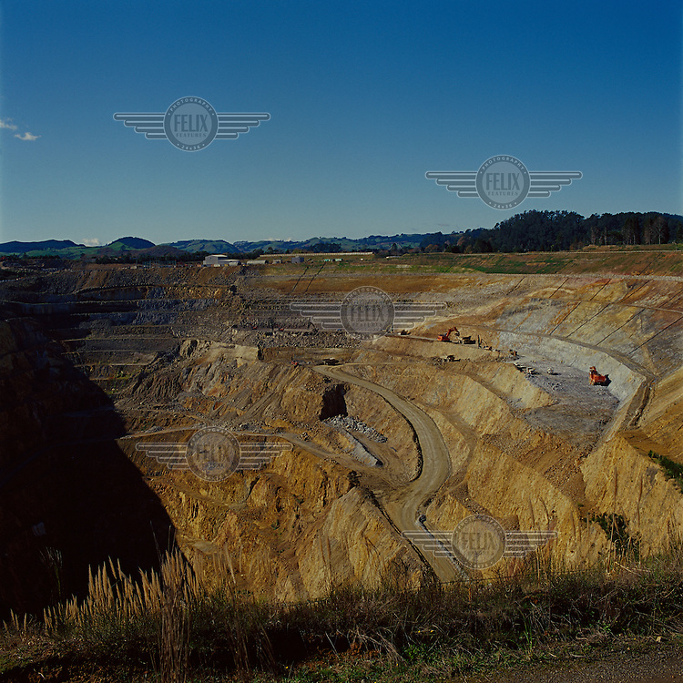 The Martha open cast Gold Mine at the Waihi township.