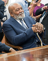 NFL legend Jim Brown meets with United States President Donald J. Trump and Kanye West and in the Oval Office of the White House in Washington, DC on Thursday, October 11, 2018.<br /> Credit: Ron Sachs / CNP /MediaPunch