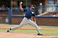 Columbia Fireflies starting pitcher Gaby Almonte (40) delivers a pitch during a game against the Asheville Tourists at McCormick Field on June 17, 2016 in Asheville, North Carolina. The Tourists defeated the Fireflies 6-2. (Tony Farlow/Four Seam Images)