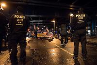 """Ca. 90 Hooligans und Nazis beteiligten sich am Montag den 1. Februar 2016 im Berliner Stadtteil Prenzlauer Berg an einer NPD-Demonstration gegen Asyl und Fluechtlinge. Die aggressive Demonstration wurde von lautstarken Protesten mehrerer hundert Gegendemonstranten begleitet. Die Demonstrationsroute wurde auf Anweisung der Polizei um 2/3 gekuerzt.<br /> Im Bild: Das Leittransparent """"Kindergaerten statt Asylheime"""".<br /> 1.2.2016, Berlin<br /> Copyright: Christian-Ditsch.de<br /> [Inhaltsveraendernde Manipulation des Fotos nur nach ausdruecklicher Genehmigung des Fotografen. Vereinbarungen ueber Abtretung von Persoenlichkeitsrechten/Model Release der abgebildeten Person/Personen liegen nicht vor. NO MODEL RELEASE! Nur fuer Redaktionelle Zwecke. Don't publish without copyright Christian-Ditsch.de, Veroeffentlichung nur mit Fotografennennung, sowie gegen Honorar, MwSt. und Beleg. Konto: I N G - D i B a, IBAN DE58500105175400192269, BIC INGDDEFFXXX, Kontakt: post@christian-ditsch.de<br /> Bei der Bearbeitung der Dateiinformationen darf die Urheberkennzeichnung in den EXIF- und  IPTC-Daten nicht entfernt werden, diese sind in digitalen Medien nach §95c UrhG rechtlich geschuetzt. Der Urhebervermerk wird gemaess §13 UrhG verlangt.]"""