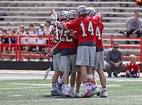 College Park, MD - April 22, 2018: Ohio State Buckeyes celebrates after scoring a goal during game between Ohio St. and Maryland at  Capital One Field at Maryland Stadium in College Park, MD.  (Photo by Elliott Brown/Media Images International)