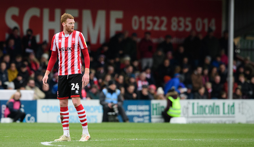 Lincoln City's Cian Bolger<br /> <br /> Photographer Chris Vaughan/CameraSport<br /> <br /> The EFL Sky Bet League Two - Lincoln City v Grimsby Town - Saturday 19 January 2019 - Sincil Bank - Lincoln<br /> <br /> World Copyright © 2019 CameraSport. All rights reserved. 43 Linden Ave. Countesthorpe. Leicester. England. LE8 5PG - Tel: +44 (0) 116 277 4147 - admin@camerasport.com - www.camerasport.com