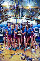The Southern Steel celebrate winning the ANZ Premiership netball grand final between the Central Pulse and Southern Steel at Arena Manawatu in Palmerston North, New Zealand on Sunday, 12 August 2018. Photo: Dave Lintott / lintottphoto.co.nz