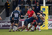 24th March 2018, AJ Bell Stadium, Salford, England; Aviva Premiership rugby, Sale Sharks versus Worcester Warriors; Josh Strauss of Sale Sharks is tackled in front of the posts