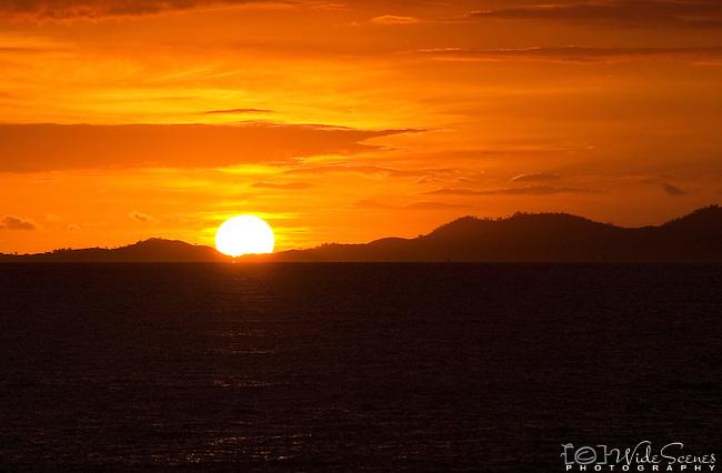 Sun setting over the Mamanuca Islands in Fiji. Taken from Denarau Island.