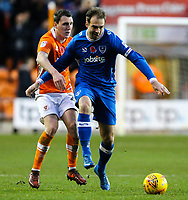 Blackpool's Callum Cooke battles with Portsmouth's Brett Pitman<br /> <br /> Photographer Alex Dodd/CameraSport<br /> <br /> The EFL Sky Bet League One - Blackpool v Portsmouth - Saturday 11th November 2017 - Bloomfield Road - Blackpool<br /> <br /> World Copyright &copy; 2017 CameraSport. All rights reserved. 43 Linden Ave. Countesthorpe. Leicester. England. LE8 5PG - Tel: +44 (0) 116 277 4147 - admin@camerasport.com - www.camerasport.com