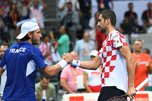 16.09.2016. Zadar, Croatia. Davis Cup tennis. Croatia versus France.  Lucas Pouille (Fra) versus Marin Cilic (Cro)