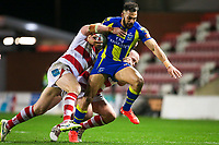 Picture by Alex Whitehead/SWpix.com - 16/03/2017 - Rugby League - Betfred Super League - Leigh Centurions v Warrington Wolves - Leigh Sports Village, Leigh, England - Warrington's Ryan Atkins is tackled by Leigh's Glenn Stewart and Danny Tickle.
