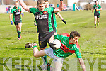 Paud Murphy (Beale) in action with Cillian Fitzgerald (Churchill)  n the Div 4th Credit Union County Senior Football league on Sunday at Churchill GAA,grounds.