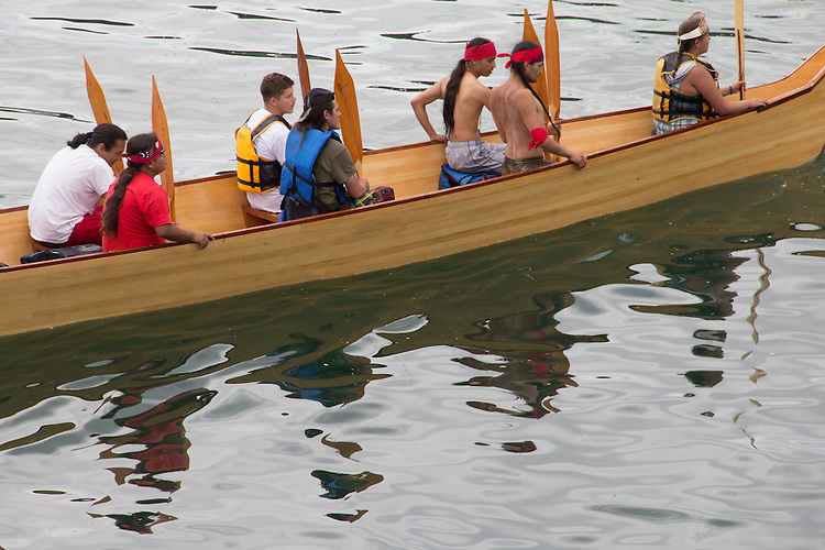 Canoe Journey, Paddle to Nisqually, 2016, Quinault tribal canoes landing, Port Townsend, Fort Worden, Olympic Peninsula, Puget Sound, Salish Sea, Washington State, USA,