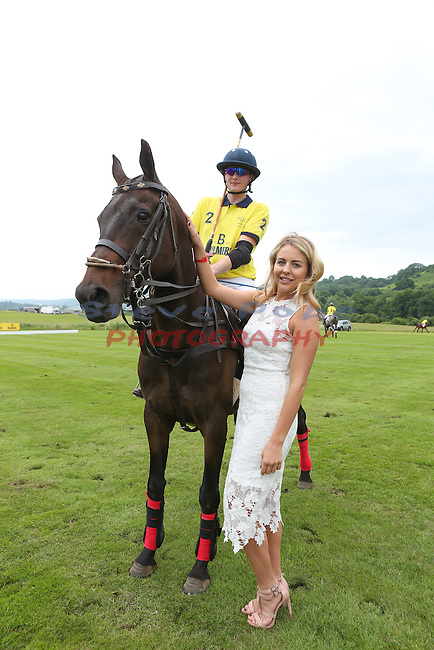 Lydia Bright and polo player<br /> Celtic Manor Resort<br /> 18.06.16<br /> &copy;Steve Pope <br /> Fotowales