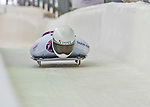 9 January 2016: Hiroatsu Takahashi, competing for Japan, crosses the finish line on his second run of the day during the BMW IBSF World Cup Skeleton Championships at the Olympic Sports Track in Lake Placid, New York, USA. Takahashi ended the day with a combined 2-run time of 1:51.14 and a 15th place overall finish. Mandatory Credit: Ed Wolfstein Photo *** RAW (NEF) Image File Available ***