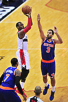 John Wall of the Wizards pulls up for a jump shot. New York defeated Washington 115-104 during a NBA preseason game at the Verizon Center in Washington, D.C. on Friday, October 9, 2015.  Alan P. Santos/DC Sports Box