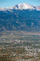 Colorado Springs with Pikes Peak. Oct 31, 2013.