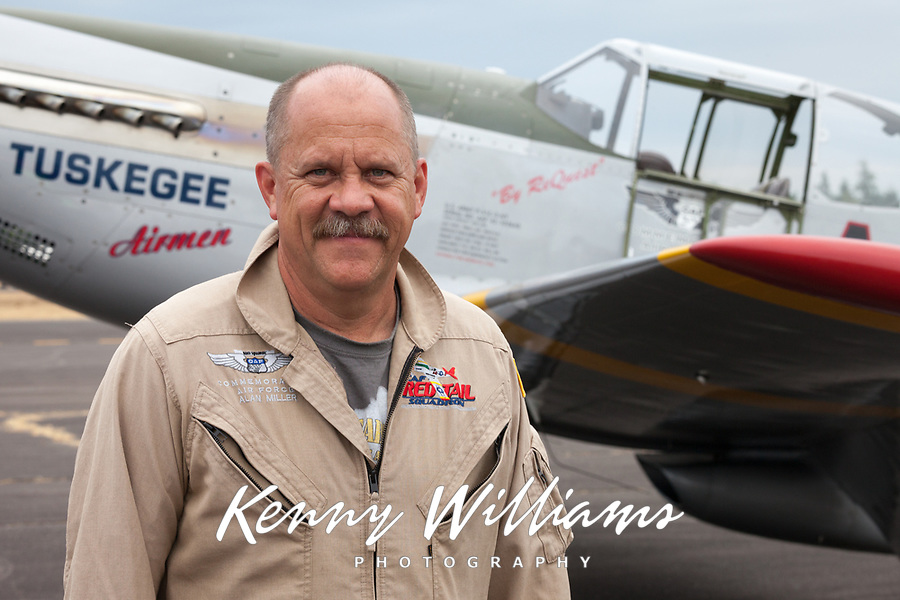 Allan Miller, Red Tail Squadron P-51C Mustang Fighter Pilot, Arlington Fly-In 2015, Washington State, WA, America, USA.