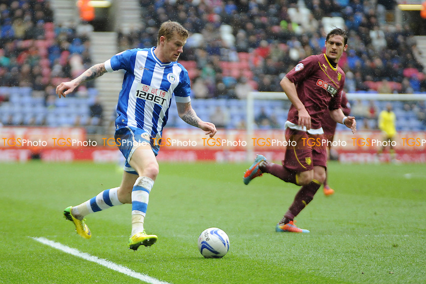 James McClean of Wigan Athletic goes on the attack - Wigan Athletic vs Watford - Sky Bet Champiosnhip Football at the DW Stadium, Wigan - 22/03/14 - MANDATORY CREDIT: Greig Bertram/TGSPHOTO - Self billing applies where appropriate - 0845 094 6026 - contact@tgsphoto.co.uk - NO UNPAID USE
