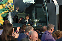 18-1-2017: Four goal hero, Team Captain and Man of the Match, David Clifford from Fossa Killarney with the Tommy Markem Cup as the team bus pulls into  Fitzgerald Stadium Killarney to receive a hero's welcome at the homecoming on Monday evening.<br /> Photo: Don MacMonagle