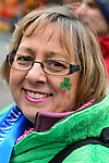 March 16, 2013 - New York, NY, U.S. - RITA NAPIERKOWSKI,, of Wallingford, CT, with  shamrock on her cheek, is marching in the 252nd annual NYC St. Patrick's Day Parade. Thousands of marchers show their Irish pride, as they march up Fifth Avenue, and over a million people, often in green and orange, watch and celebrate.