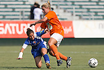 03 July 2008: Carolina's Sarah Winslow (r) has the ball knocked away by Charlotte's Lydia (Lyds) Vandenbergh (l). The Charlotte Lady Eagles defeated the Carolina Railhawks Women 3-0 at WakeMed Stadium in Cary, NC in a 2008 United Soccer League W-League regular season game.