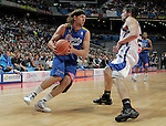 Asefa Estudiantes' Pancho Jasen (l) and Real Madrid's Sergio LLull during ACB match.September 30,2010. (ALTERPHOTOS/Acero)