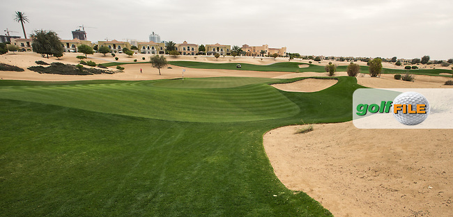 16th green at The Els Club , Dubai, United Arab Emirates.  28/01/2016. Picture: Golffile | David Lloyd<br /> <br /> All photos usage must carry mandatory copyright credit (&copy; Golffile | David Lloyd)