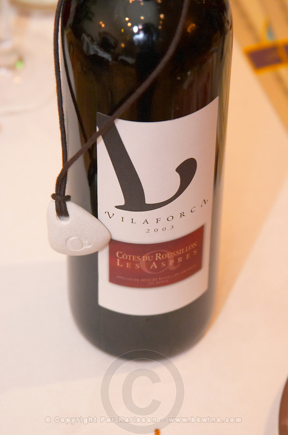 Vilaforca. Vignerons de Fourques cooperative. Cotes du Roussillon Les Aspres. Roussillon. France. Europe. Bottle.