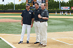 Wake Forest Demon Deacons head coach Tom Walter (16), Athletic Director Ron Wellman, and Assistant Athletic Director for Development Bill Merrifield prior to the start of Senior Day ceremonies at David F. Couch Ballpark on May 19, 2018 in  Winston-Salem, North Carolina. The Demon Deacons defeated the Cavaliers 18-12. (Brian Westerholt/Four Seam Images)