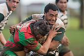 S. Kepu tackles E. Peters. Counties Manukau Premier 1 McNamara Cup round 2 rugby game between Manurewa & Waiuku played at Mountfort Park, Manurewa on the 30th of June 2007. Manurewa led 19 - 3 at halftime and went on to win 31 - 3.