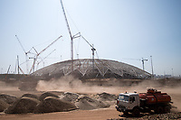 23rd October 2017, Trucks driving past the Samara Arena construction site in Samara, Russia, 23 August 2017. The city is one of the many locations for the 2018 FIFA World Cup in Russia.