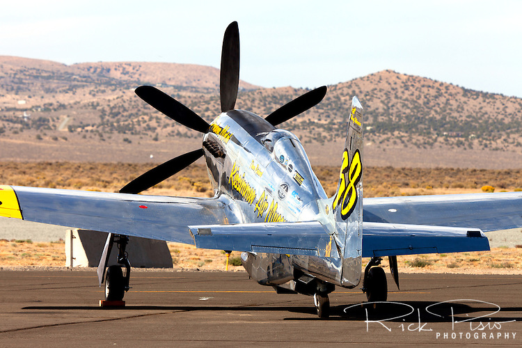 P-51 Mustang Unlimited Air Racer Precious Metal on the ramp at the 2012 Reno National Championship Air Races