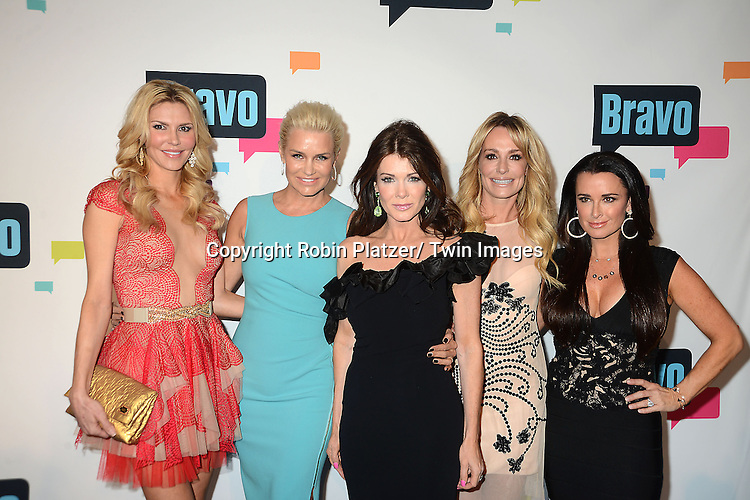 "cast of ""The Real Housewives of Beverly Hills"" arrive at the Bravo 2013  Upfront on April 3, 2013 at Pillars 37 Studio in New York City."