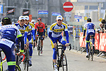 Sport Vlaanderen-Baloise team arrive at sign on before the 2019 Gent-Wevelgem in Flanders Fields running 252km from Deinze to Wevelgem, Belgium. 31st March 2019.<br /> Picture: Eoin Clarke | Cyclefile<br /> <br /> All photos usage must carry mandatory copyright credit (© Cyclefile | Eoin Clarke)