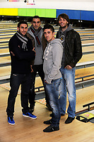 Pictured L-R: Angel Rangel, Chico Flores, Pablo Hernandez and Michu.  Wednesday 15 November 2012<br /> Re: Swansea City FC players have played bowling at the Tenpin bowling alley at Parc Tawe, Swansea, south Wales.