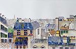 Les Toits de Paris<br /> 14x22 Watercolor on Paper<br /> $6,000
