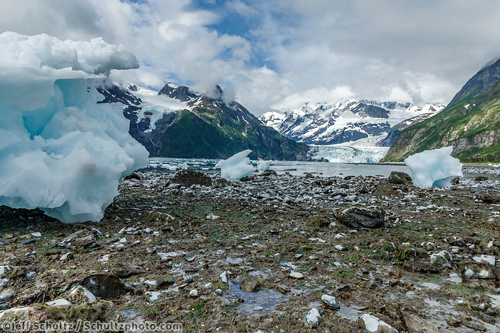 Ice Bergs on shore in front of Cascade Glacier in Prince William Sound in Harriman Fjord.  <br />