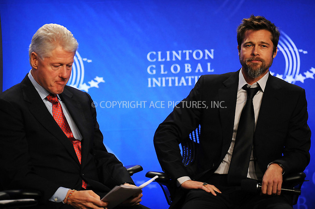 WWW.ACEPIXS.COM . . . . . ....September 24 2009, New York City....Bill Clinton and Brad Pitt at the Clinton Global Initiative on September 24 2009 in New York City....Please byline: KRISTIN CALLAHAN - ACEPIXS.COM.. . . . . . ..Ace Pictures, Inc:  ..tel: (212) 243 8787 or (646) 769 0430..e-mail: info@acepixs.com..web: http://www.acepixs.com