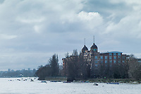 Hammersmith. London. United Kingdom,  Competitors pass by  &quot;Harrods Village&quot;. William Hunt Mansions. 2018 Men's Head of the River Race.  location Barnes Bridge, Championship Course, Putney to Mortlake. River Thames, <br /> <br /> Sunday   11/03/2018<br /> <br /> [Mandatory Credit:Peter SPURRIER Intersport Images]<br /> <br /> Leica Camera AG  M9 Digital Camera  1/750 sec. 50 mm f.9.5 160 ISO.  5.5MB