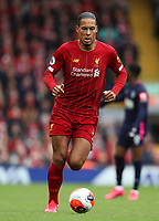 7th March 2020; Anfield, Liverpool, Merseyside, England; English Premier League Football, Liverpool versus AFC Bournemouth; Virgil van Dijk of Liverpool runs with the ball