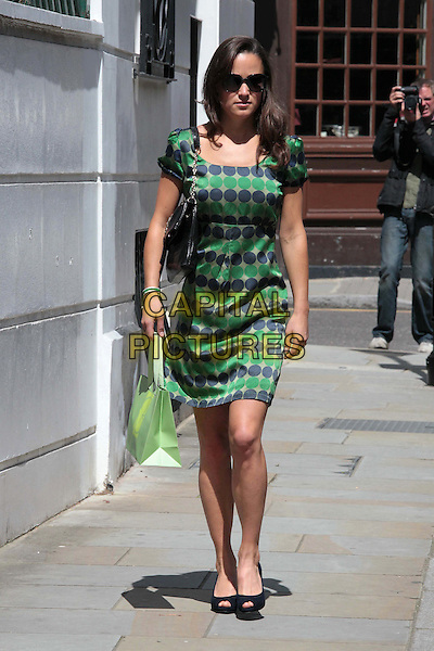 Pippa Middleton spotted in Chelsea,.London, England..July 22nd, 2011.full length sunglasses shades green blue grey gray polk dot print dress peep toe shoes bag.CAP/HIL.©John Hillcoat/Capital Pictures .