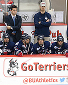Corey Ronan (UConn - 11), Joe Pereira (UConn - Assistant Coach), Jesse Schwartz (UConn - 17), Joey Ferriss (UConn - 28), Max Kalter (UConn - 18) - The Boston University Terriers defeated the visiting University of Connecticut Huskies 4-2 (EN) on Saturday, October 24, 2015, at Agganis Arena in Boston, Massachusetts.