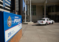 A police car is parked at the 52 division station of Toronto police April 19, 2010.