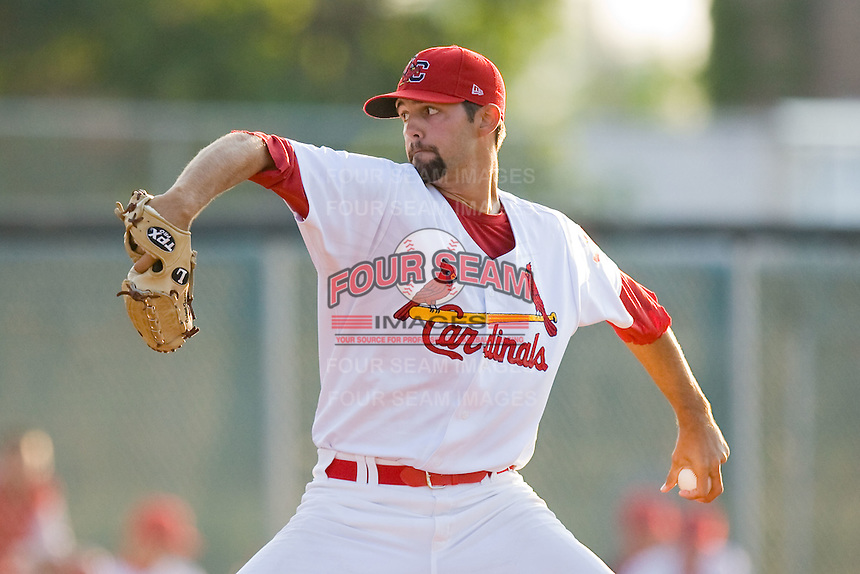 Relief pitcher Patrick Daugherty #37 of the Johnson City Cardinals in action against the Elizabethton Twins at Howard Johnson Field July 3, 2010, in Johnson City, Tennessee.  Photo by Brian Westerholt / Four Seam Images