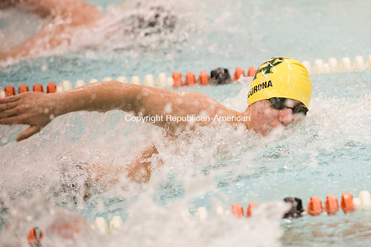 WATERTOWN, CT - 22 December 2015-122215EC07--  Holy Cross' Matt Corona wins the 100 Freestyle event in 52.94 in Watertown Tuesday night. Erin Covey Republican-American.