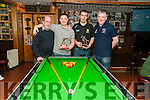 Adam Toomey winner of the pool l tournament at Mike the Pies Bar, Listowel on Monday night last. L-R: Martin Griffin, referee. Adam Toomey, winner, Brendan Griffin, runner up & Aidan O'Connor, owner Mike the Pie's Bar, Listowel.