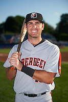Aberdeen Ironbirds third baseman Collin Woody (48) poses for a photo before a game against the Batavia Muckdogs on July 14, 2016 at Dwyer Stadium in Batavia, New York.  Aberdeen defeated Batavia 8-2. (Mike Janes/Four Seam Images)