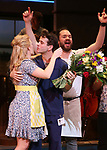 "Stephanie Torns and Benny Elledge with Joey McIntyre during his debut bows in Broadway's  ""Waitress"" at The Brooks Atkinson Theatre on February 4, 2019 in New York City."