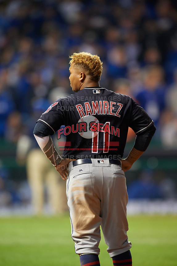 Cleveland Indians Jose Ramirez (11) in the eighth inning during Game 3 of the Major League Baseball World Series against the Chicago Cubs on October 28, 2016 at Wrigley Field in Chicago, Illinois.  (Mike Janes/Four Seam Images)
