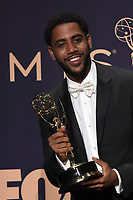 LOS ANGELES - SEP 22:  Jharrel Jerome at the Emmy Awards 2019: PRESS ROOM at the Microsoft Theater on September 22, 2019 in Los Angeles, CA
